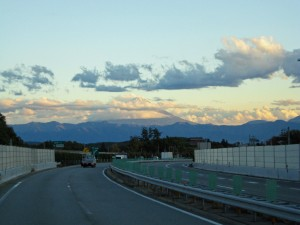 My best shot at getting Mount Fuji from a moving bus.
